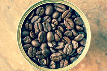 Coffee beans canned in tin top view