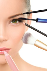 Makeover beauty transformation concept with makeup