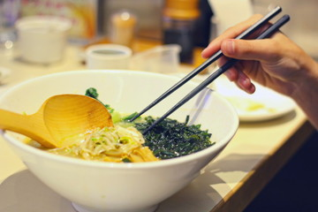 Eating Japanese soup noodles