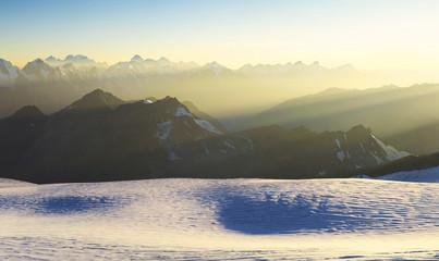 High mountain range during sunrise. Beautiful natural landscape