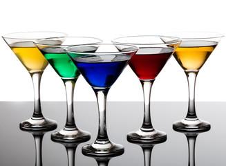 color cocktails in martini glasses