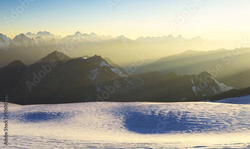 High mountain range during sunrise. Beautiful natural landscape © Biletskiy Evgeniy