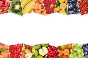 Früchte und Obst wie Apfel, Orange, Zitrone mit Textfreiraum