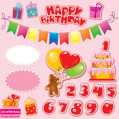 Set of Birthday Party Elements for your design with Teddy Bear,