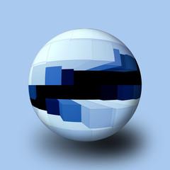 Sfera 3D con cubi azzurri e blu.