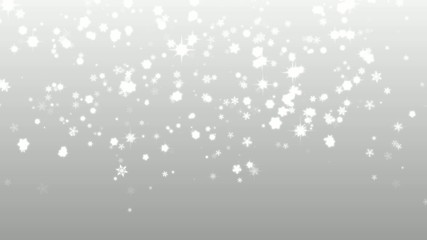 Christmas silver background with snowflakes falling snow