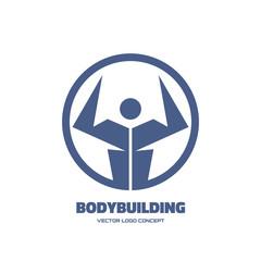 Body-building - vector creative logo sign. Vector logo template.
