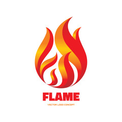 Flame - vector logo illustration. Red fire sign.