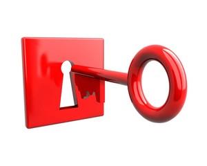 Red key an keyhole