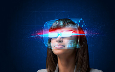 Future woman with high tech smart glasses