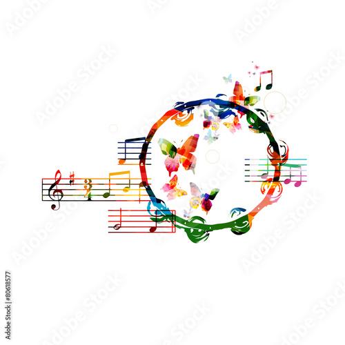 Colorful tambourine design - 80618577