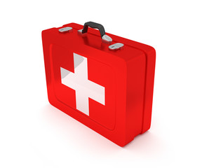 First aid kit on a white background. 3D render