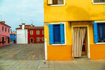 beautiful colorful small houses in Burano island near Venice Ita