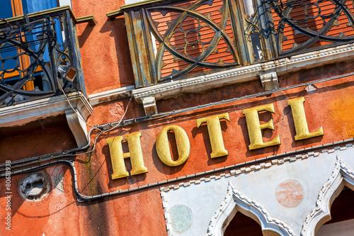 Tuinposter Venice Ocher Facade of a luxury hotel