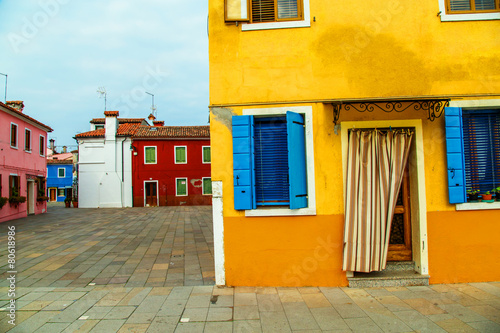 Leinwandbild Motiv beautiful colorful small houses in Burano island near Venice Ita