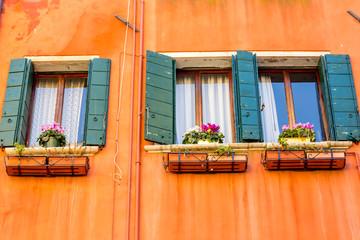 Beautiful venetian windows of a typical Venetian house, Italy
