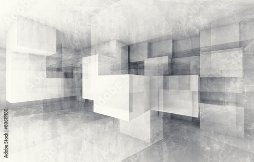 Fototapety, obrazy : Chaotic cubes structure. 3d render with texture