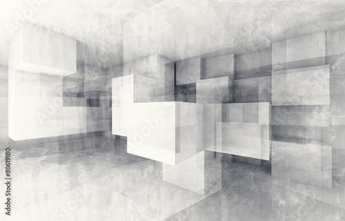 Zdjęcia na płótnie, fototapety na wymiar, obrazy na ścianę : Chaotic cubes structure. 3d render with texture