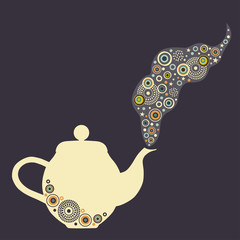 Stylized teapot with design elements
