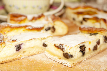 Cheesecake with raisins closeup