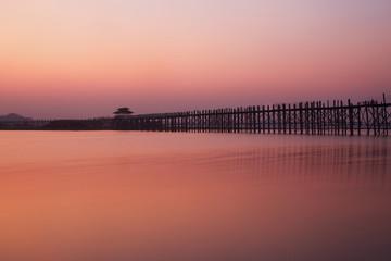 U bein bridge and Taungthaman lake in Amarapura, Myanmar (Burma)