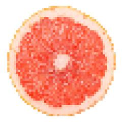Grapefruit Fruit Slice Pixel Vector