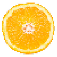 Orange Fruit Slice Pixel Vector