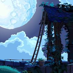 cartoon fairy house in the sky on a moonlit night