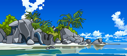 cartoon beautiful tropical island