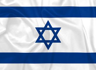 Israeli National flag with silk texture