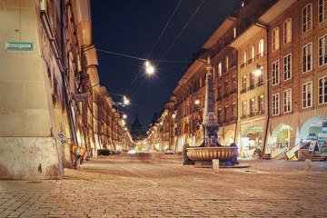 night view on the alley Kramgasse at Bern