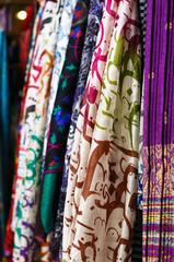 Silk scarves hanging at street bazaar in Istanbul