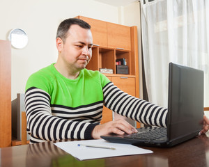 man   at  computer in  home