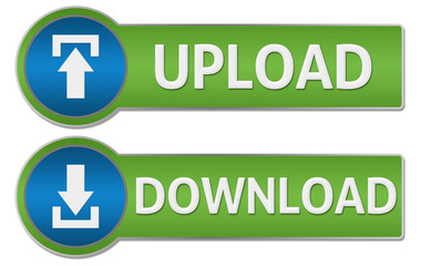 Upload Download Blue Green Buttons