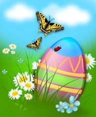 Easter egg hidden in grass