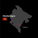 Detailed map of Montenegro and capital city Podgorica with flag poster