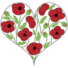 Poppy seeds flowers in the heart shape