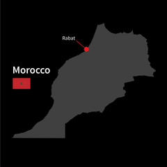 Detailed map of Morocco and capital city Rabat with flag on