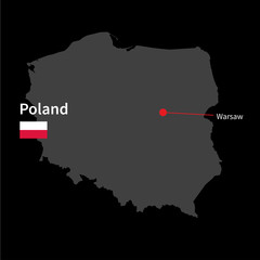 Detailed map of Poland and capital city Warsaw with flag on