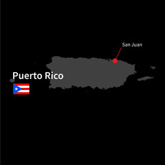 Detailed map of Puerto Rico and capital city San Juan with flag