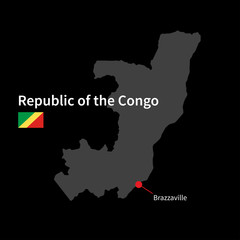 Detailed map of Republic of the Congo and capital city
