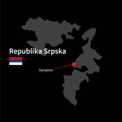 Detailed map of Republika Srpska and capital city Sarajevo with