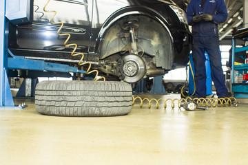 The image of car under repair