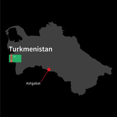 Detailed map of Turkmenistan and capital city Ashgabat with flag