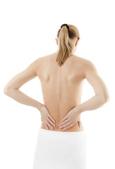 Woman massaging pain back