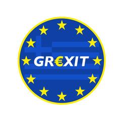 Grexit rund blau/gelb mit Flagge