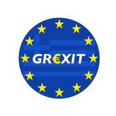 Grexit rund blau mit Flagge