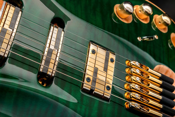 Strings for electric guitar green close