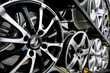 Car wheels on a shelf in the store - 80624199