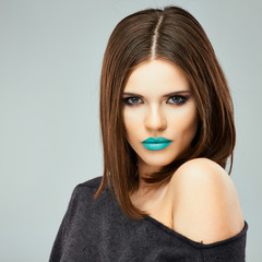 Beauty woman with blue lips